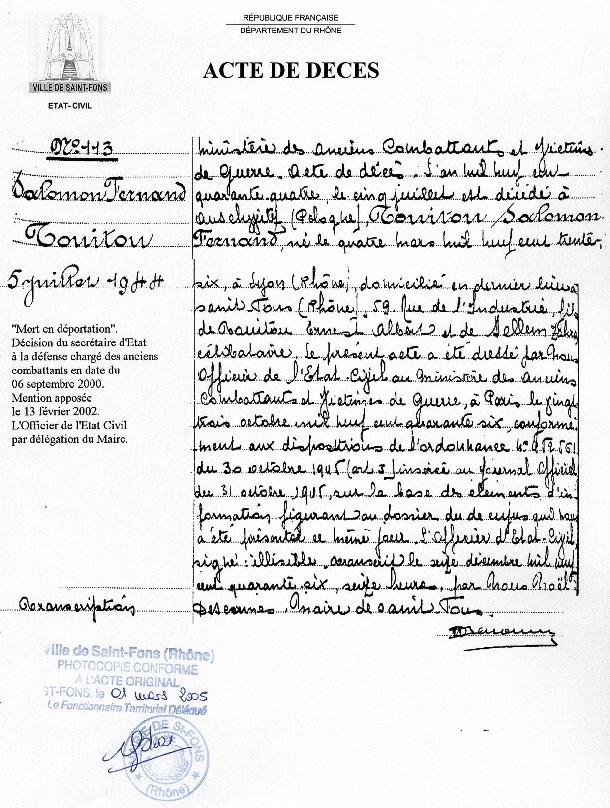 Acte de décès de Salomon, Touitou, Saint-Fons