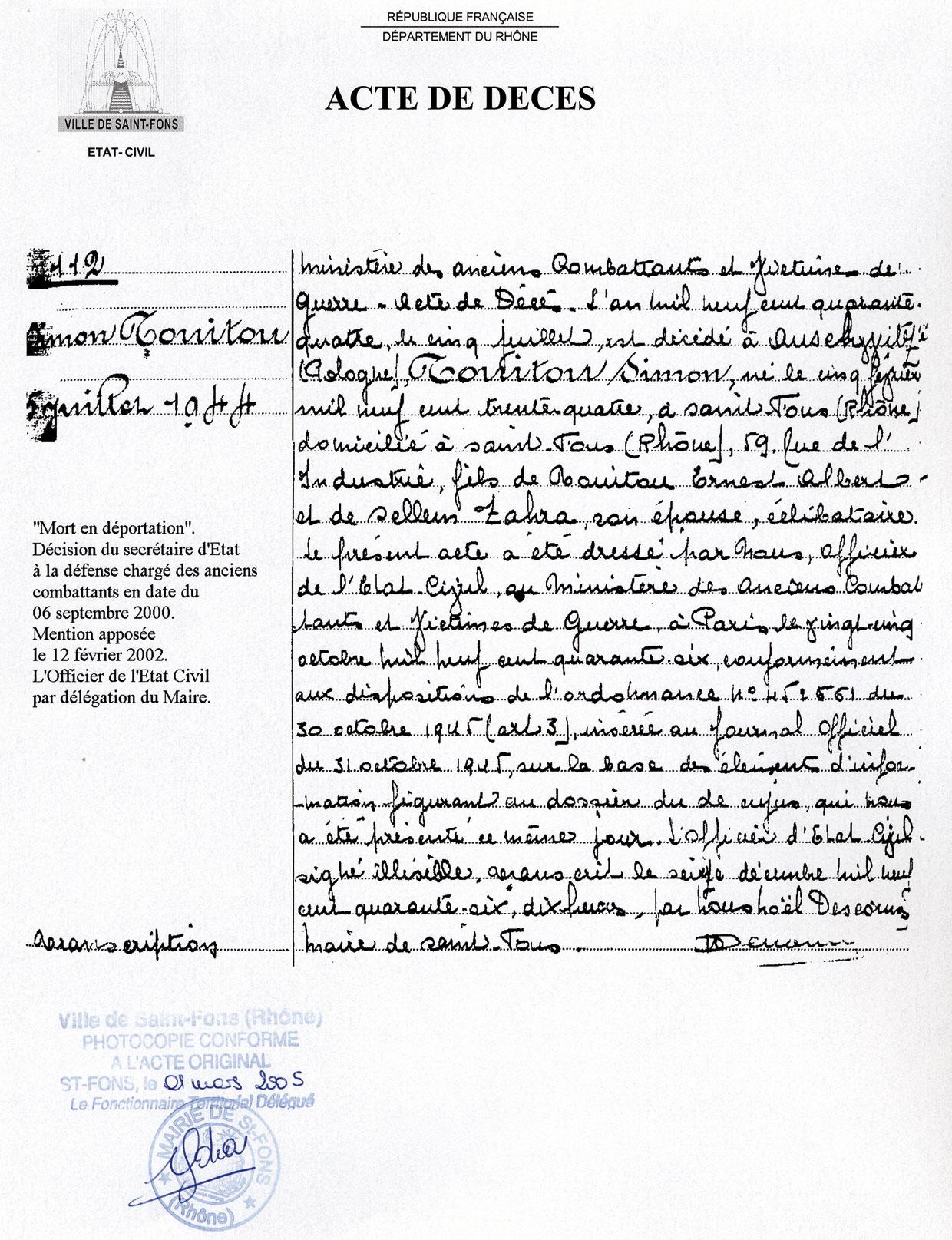 Acte de décès de Simon, Touitou, Saint-Fons
