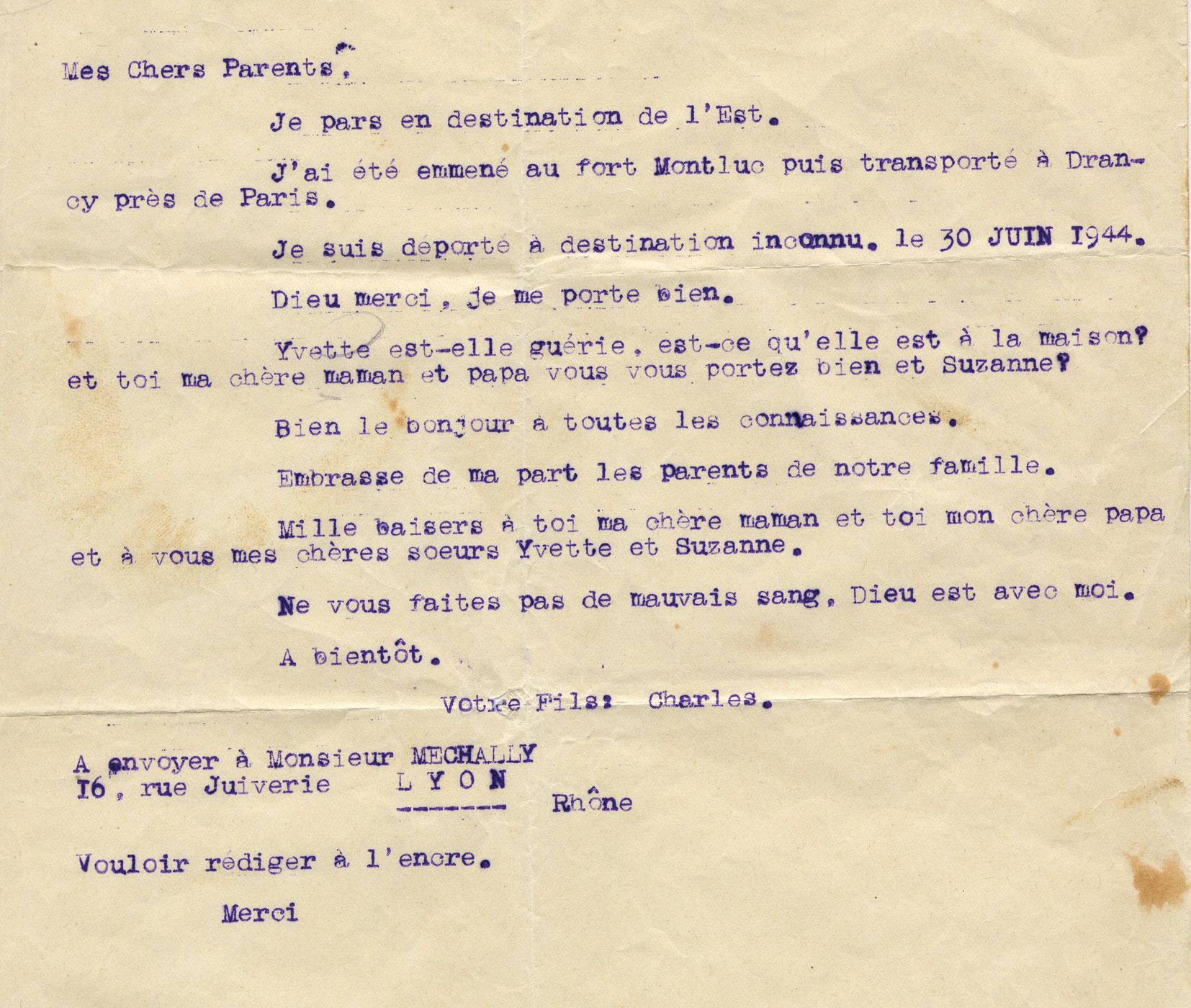 Lettre de Charles à ses parents, Mechally, Saint-Fons