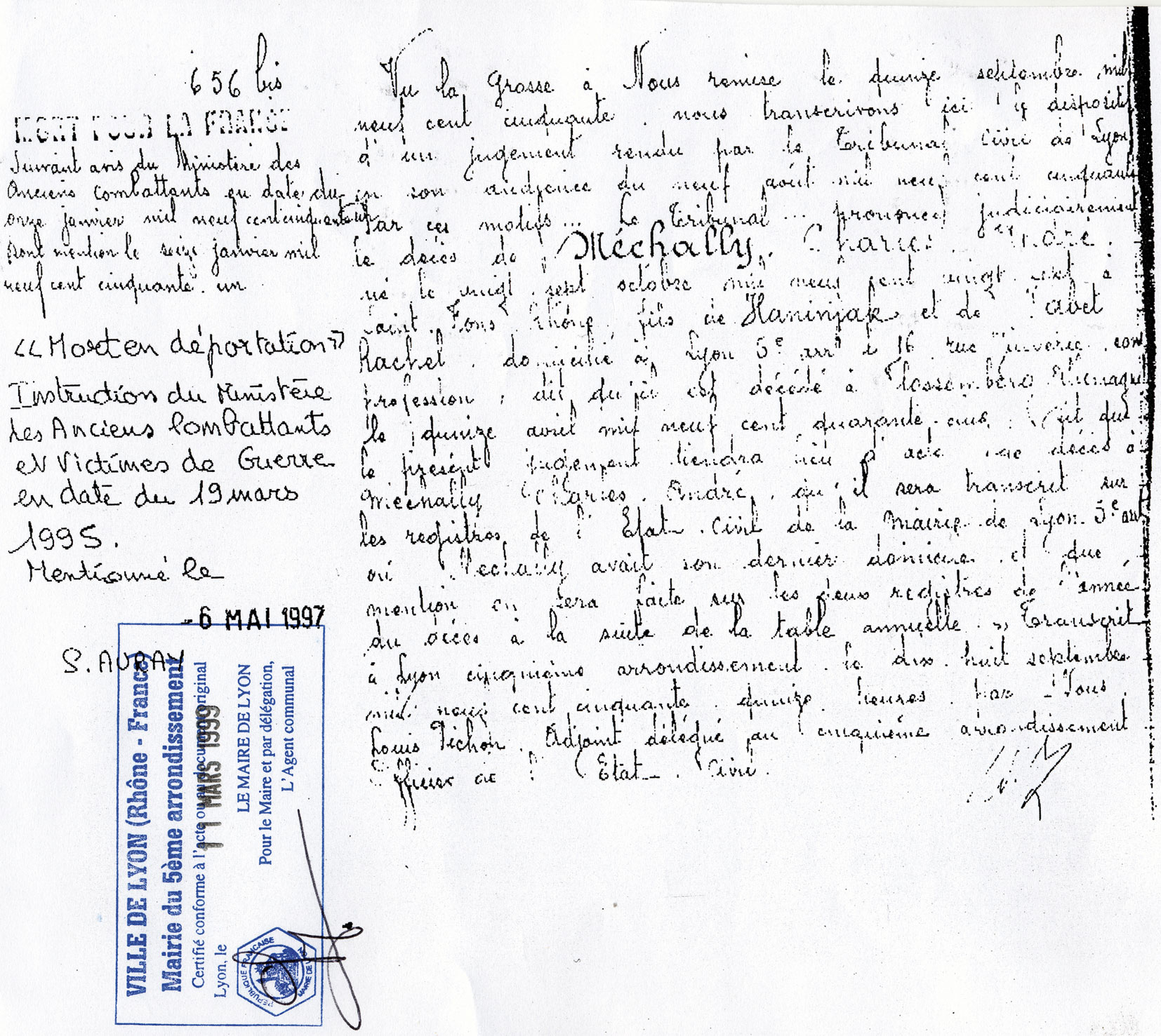 Document officiel concernant Charles, Mechally, Saint-Fons
