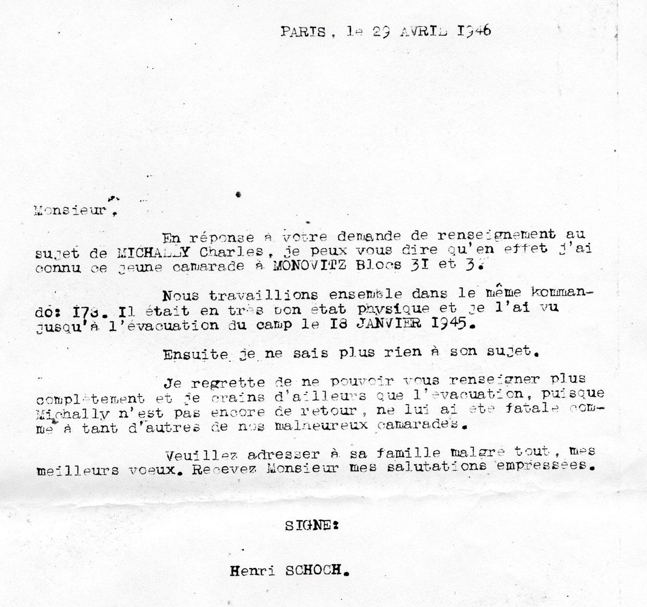 Lettre de témoignage de Henri Schoch à propos de Charles, Mechally, Saint-Fons