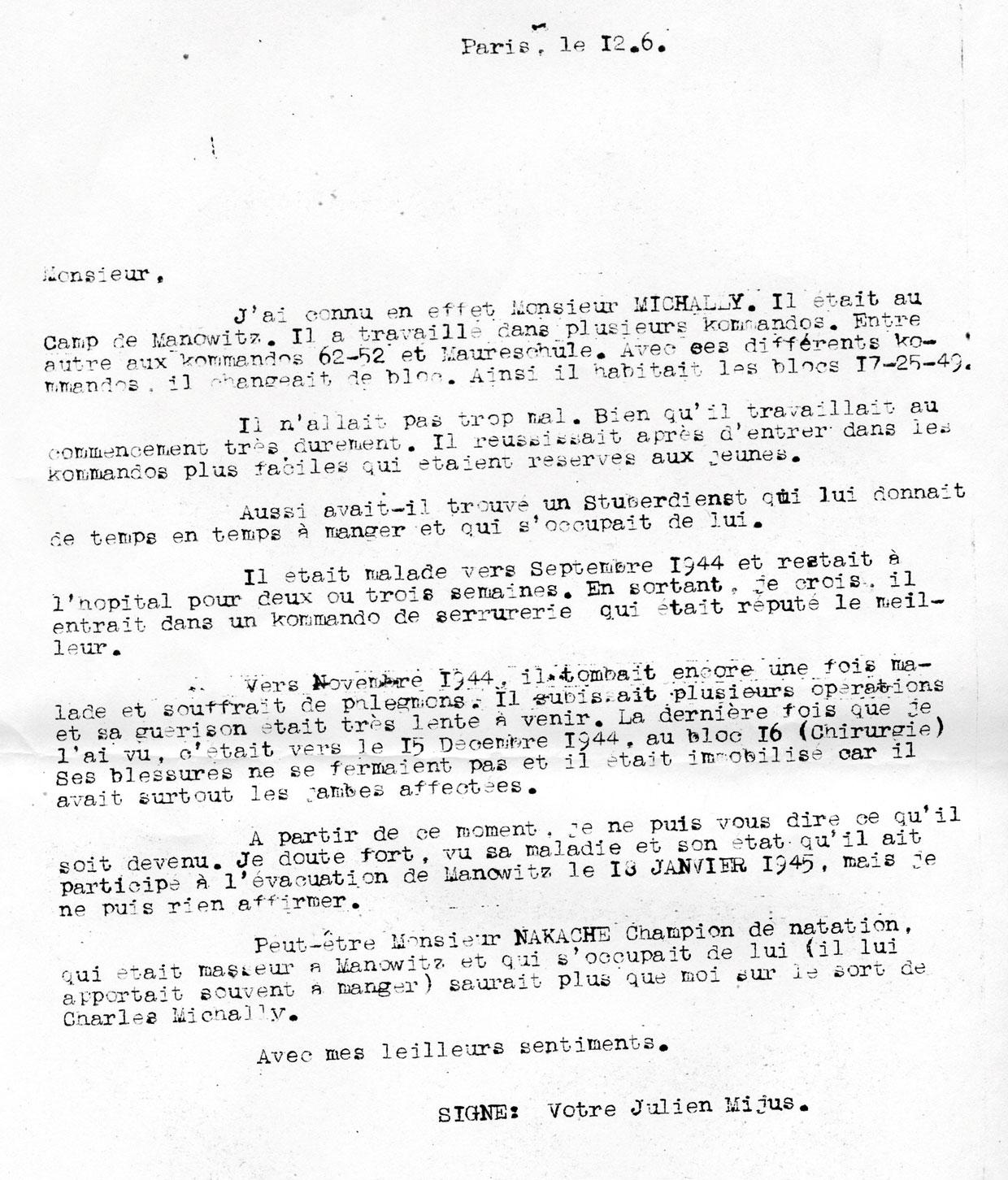 Lettre de témoignage de Julien Mijus à propos de Charles, Mechally, Saint-Fons