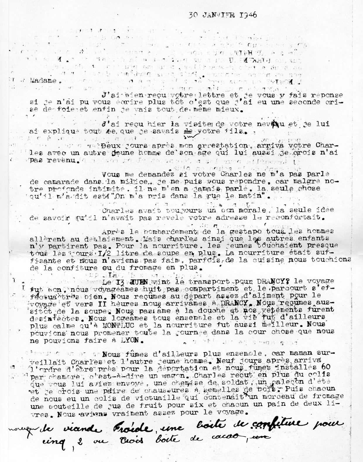 Lettre de témoignage de Wajeman à propos de Charles, page 1, Mechally, Saint-Fons