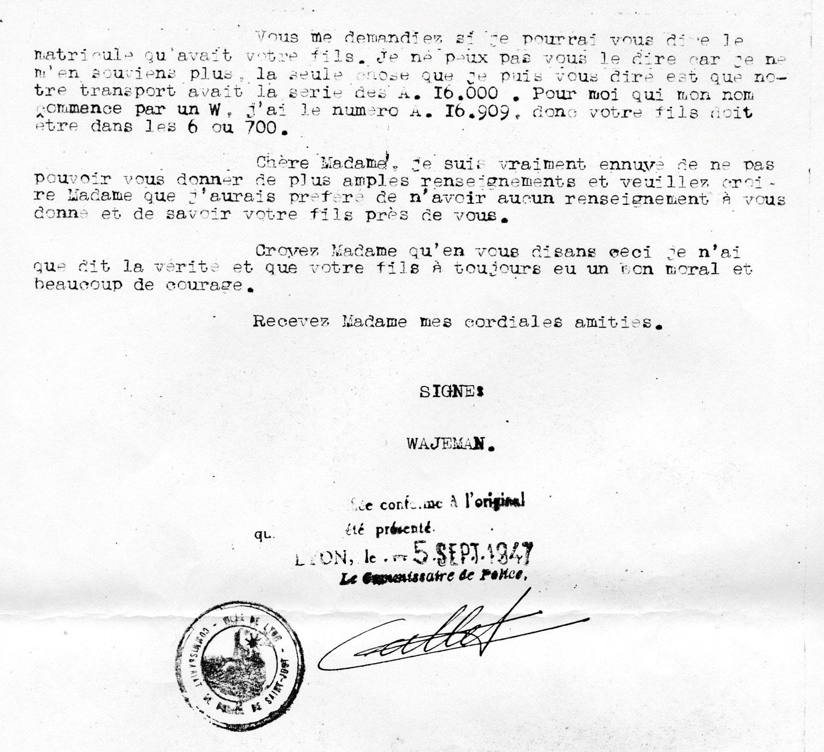 Lettre de témoignage de Wajeman à propos de Charles, page 3, Mechally, Saint-Fons