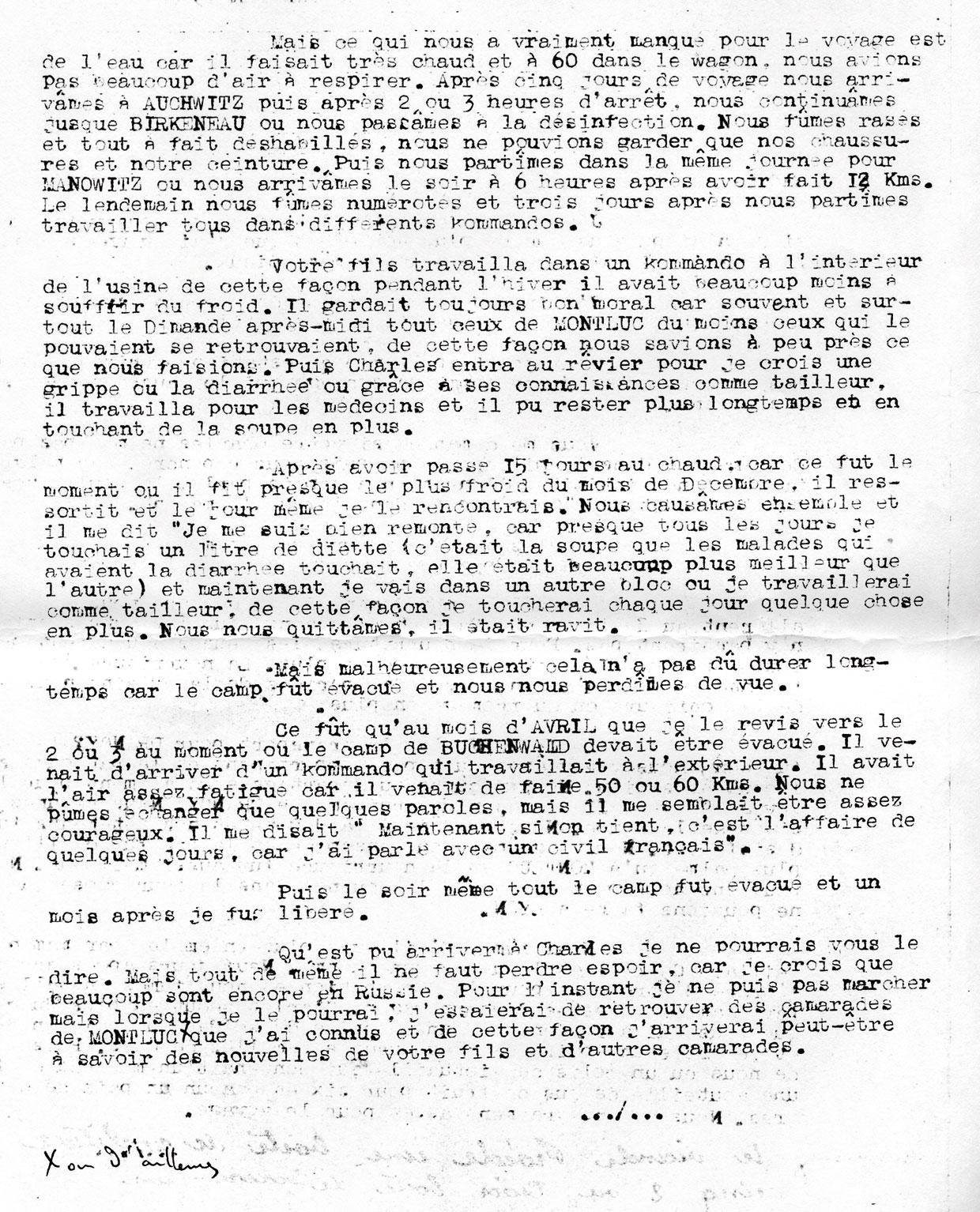 Lettre de témoignage de Wajeman à propos de Charles, page 2, Mechally, Saint-Fons
