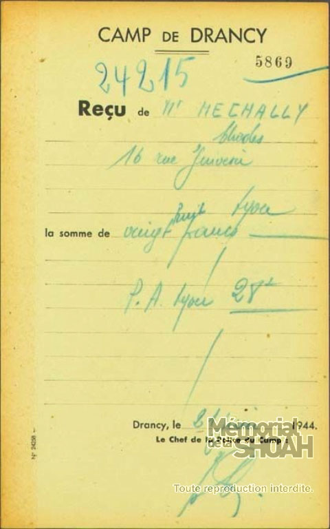 Reçu du camp de Drancy pour Charles, Mechally, Saint-Fons