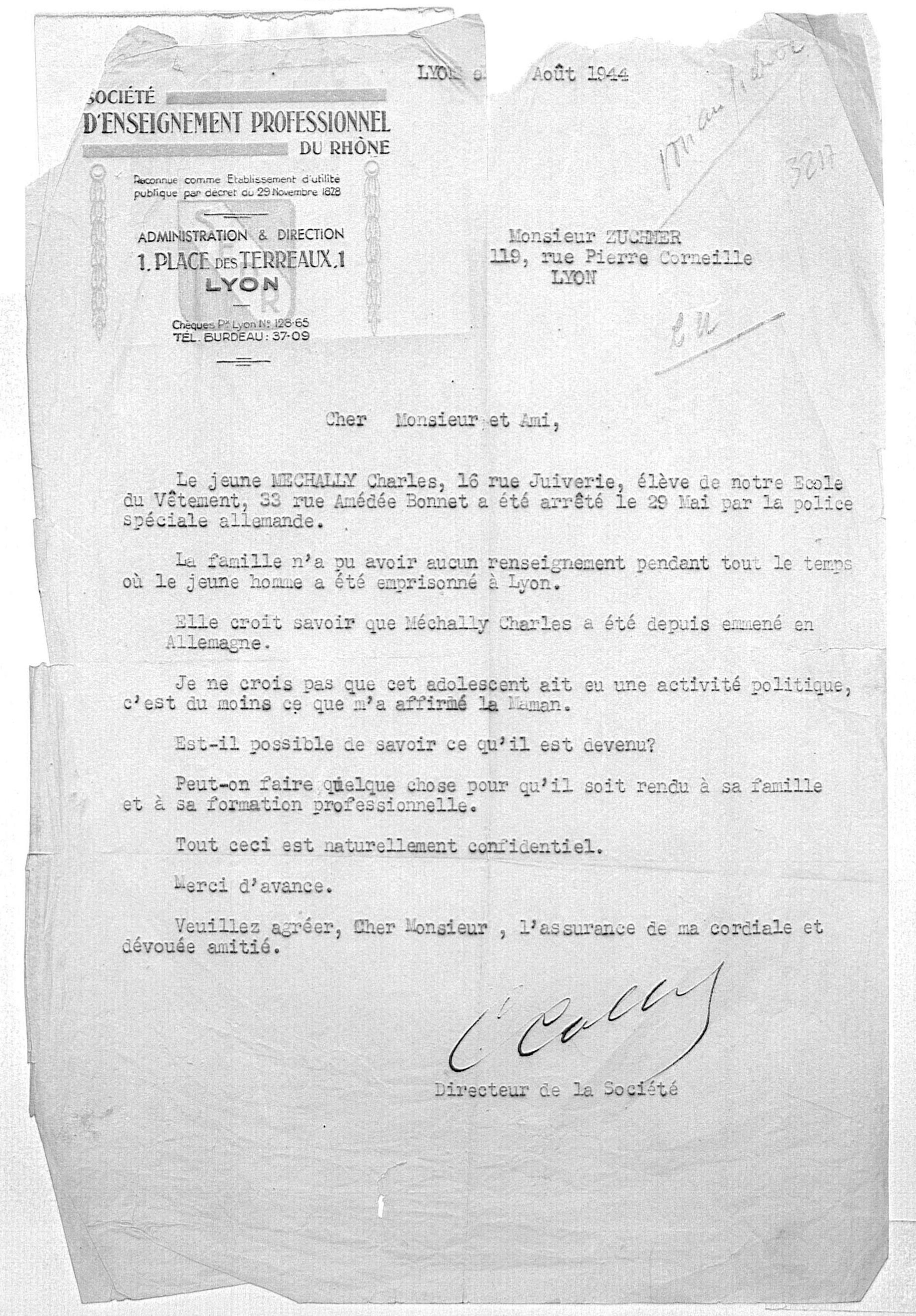 Lettre de demande de renseignements de la SEPR concernant Charles, Mechally, Saint-Fons