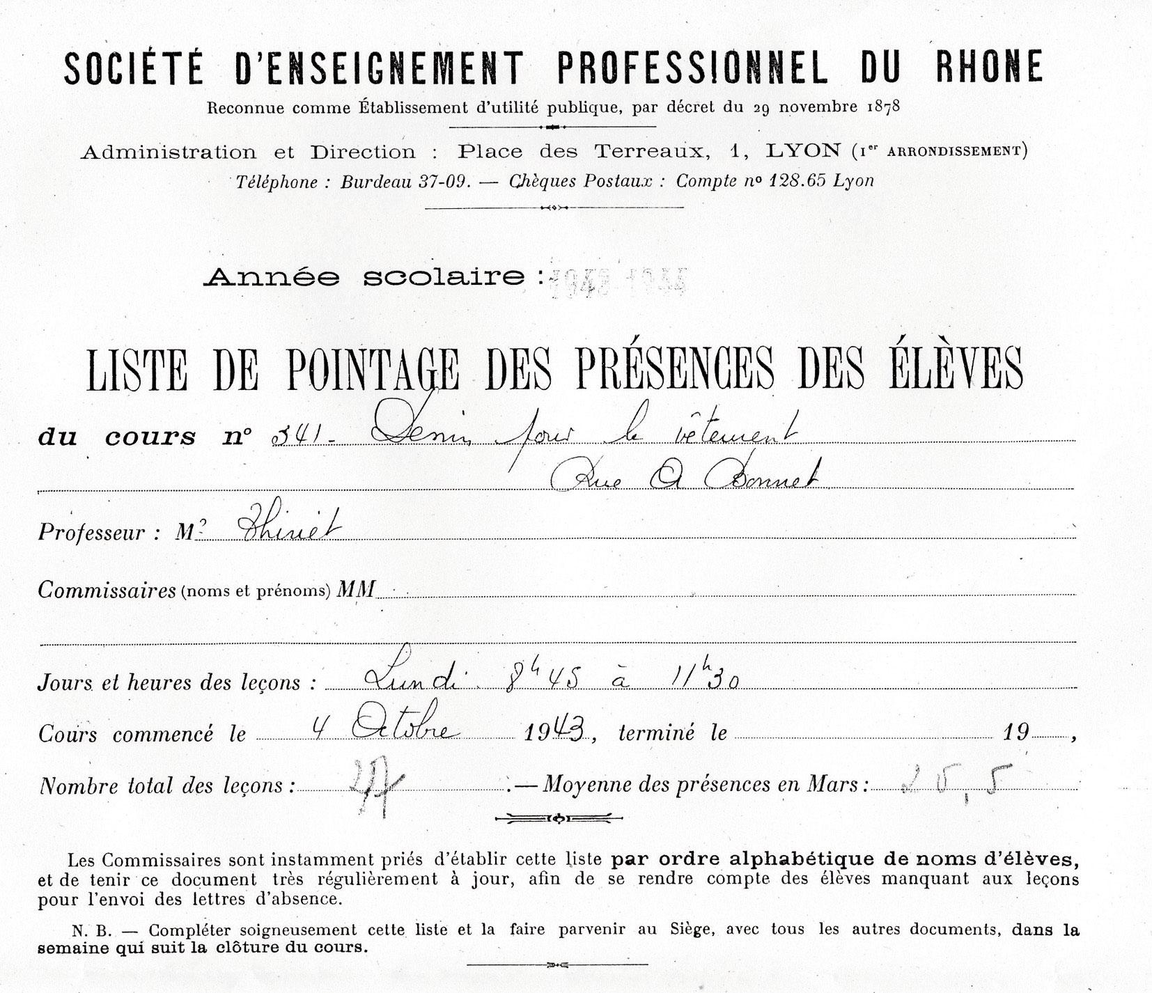 Liste de pointage de la SEPR concernant Charles, Mechally, Saint-Fons