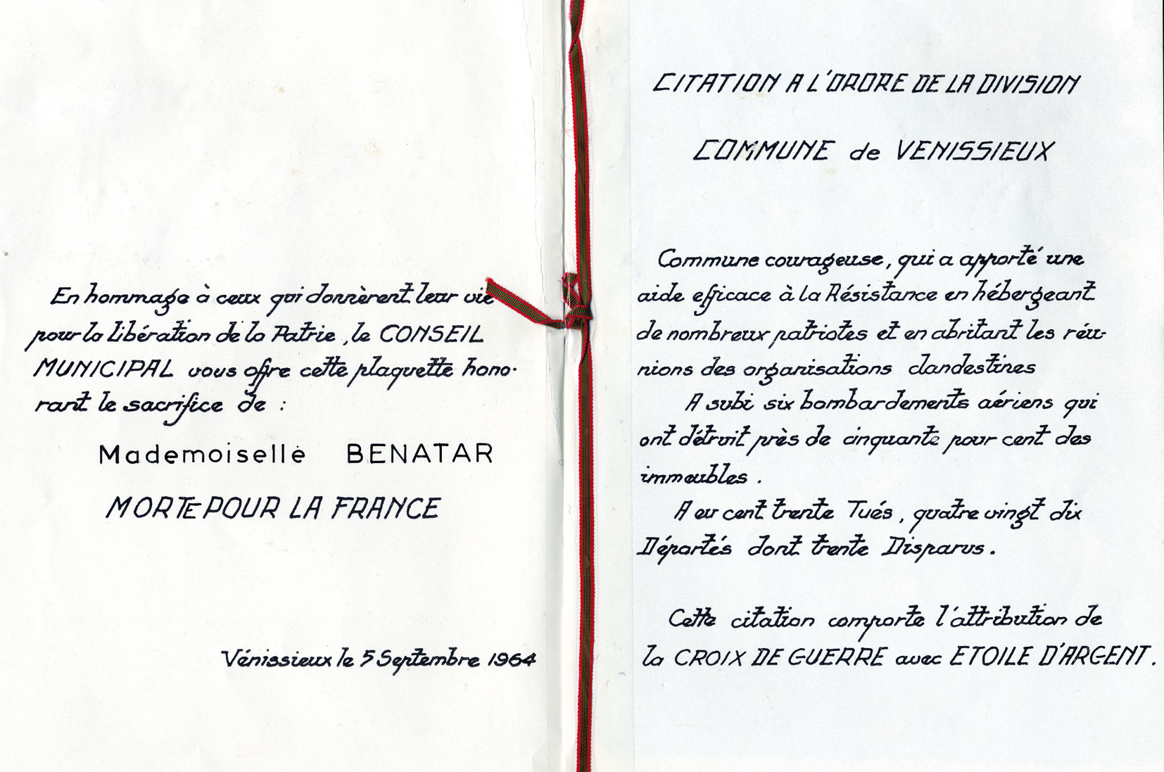 Document officiel de la commune de Vénissieux en hommage à Zahra, Benatar, Saint-Fons