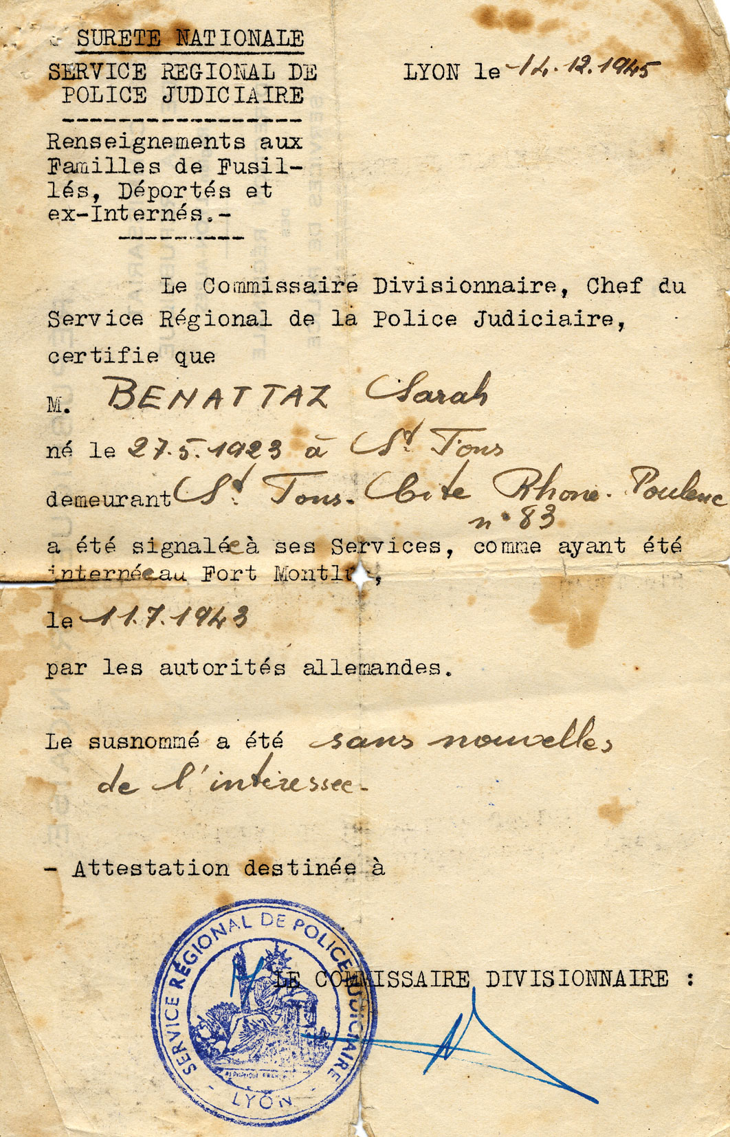 Document officiel de situation de Zahra, Benatar, Saint-Fons