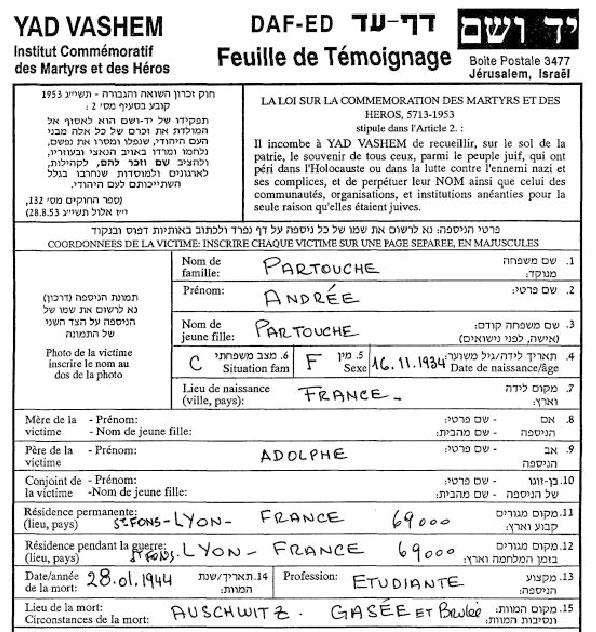 Feuille de témoignage de Andrée, Partouche, Saint-Fons