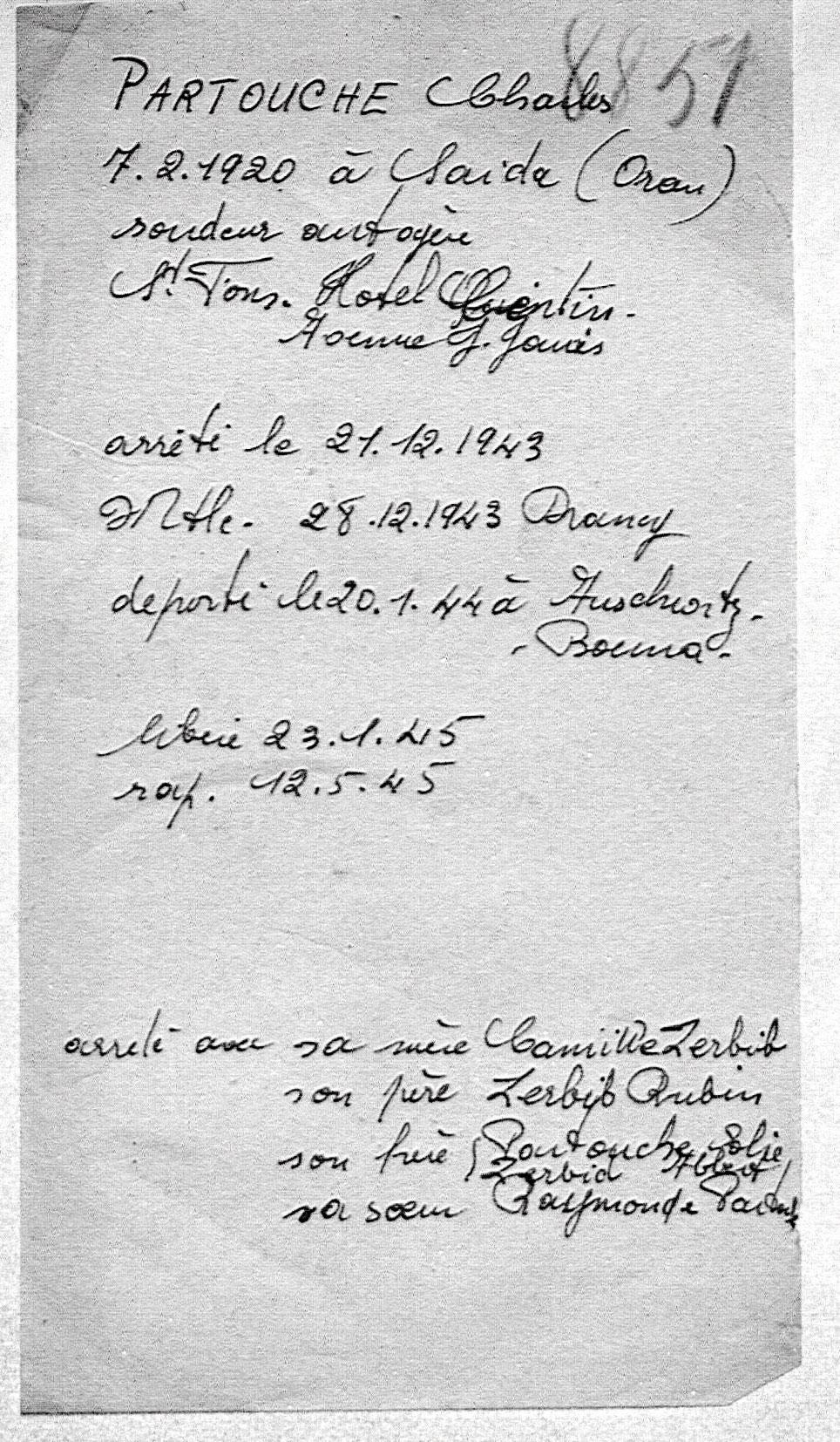Document officiel de Charles, Partouche, Saint-Fons