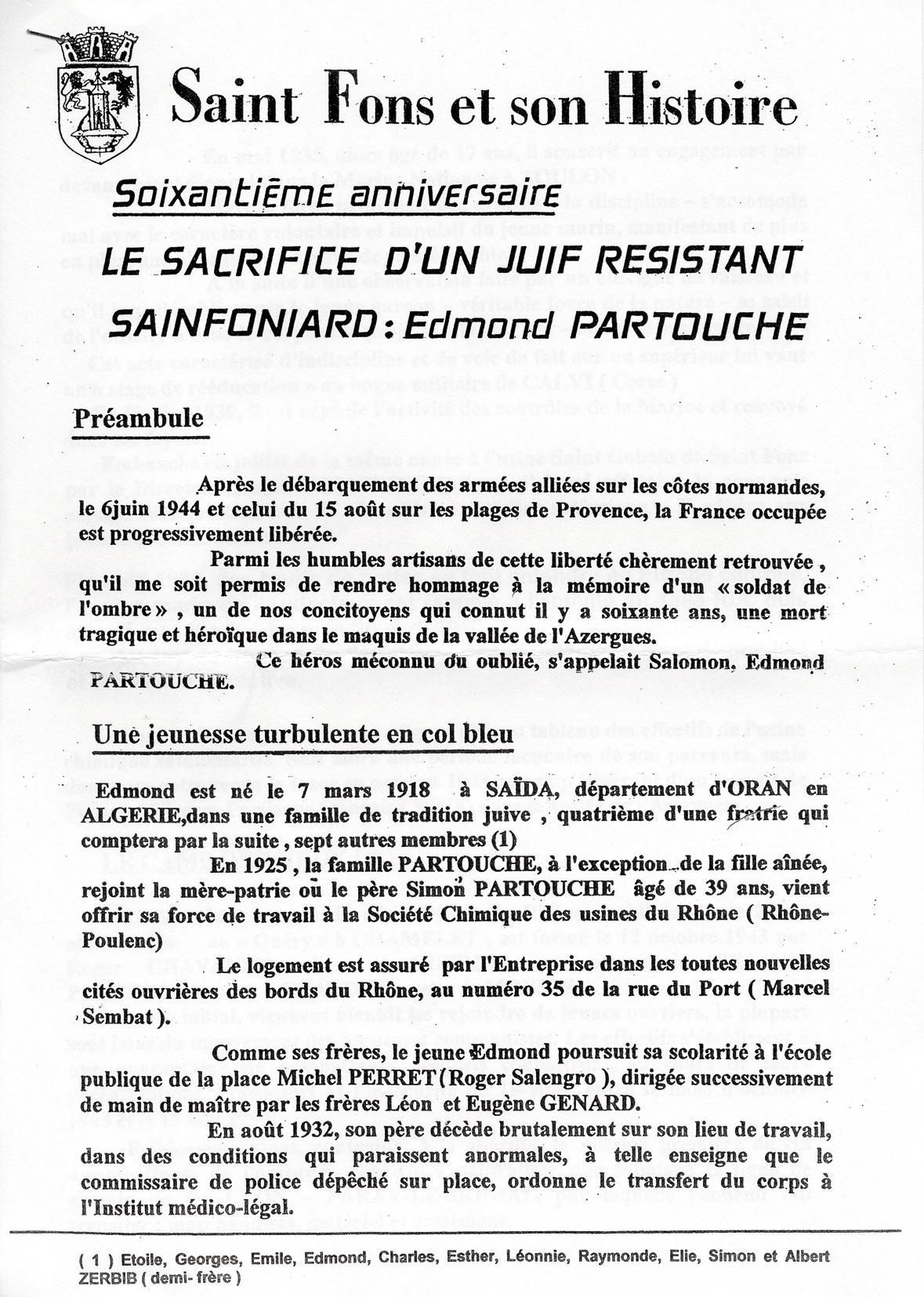 Document officiel de Saint Fons en l'honneur de Edmond, Partouche, Saint-Fons