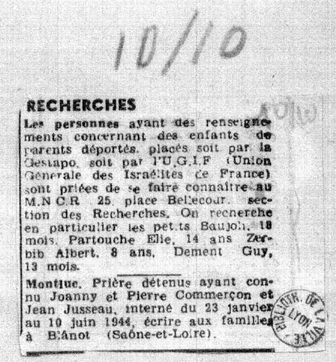 Recherche de Elie, Partouche, Saint-Fons