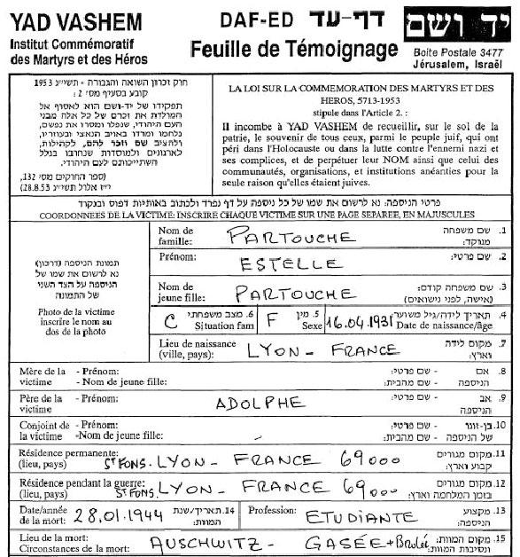 Feuille de témoignage de Estelle, Partouche, Saint-Fons