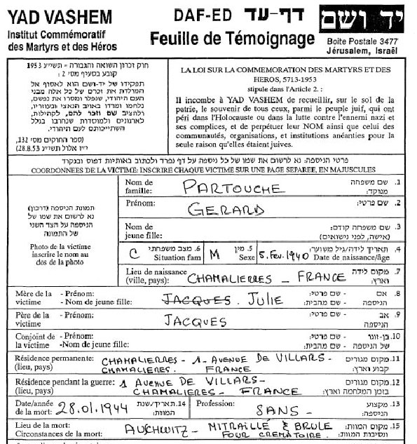 Feuille de témoignage de Gérard, Partouche, Saint-Fons