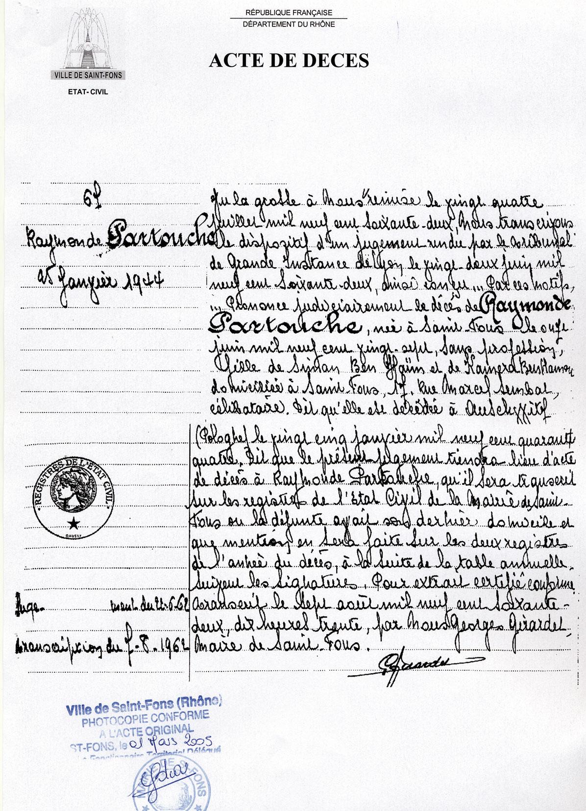 Acte de décès de Raymonde, Partouche, Saint-Fons