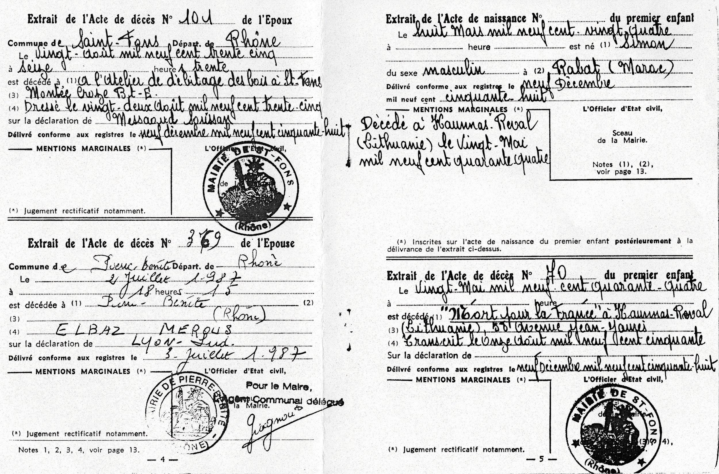 Acte de mariage / décès / naissance, page 2, page 1, Kadosch, Saint-Fons