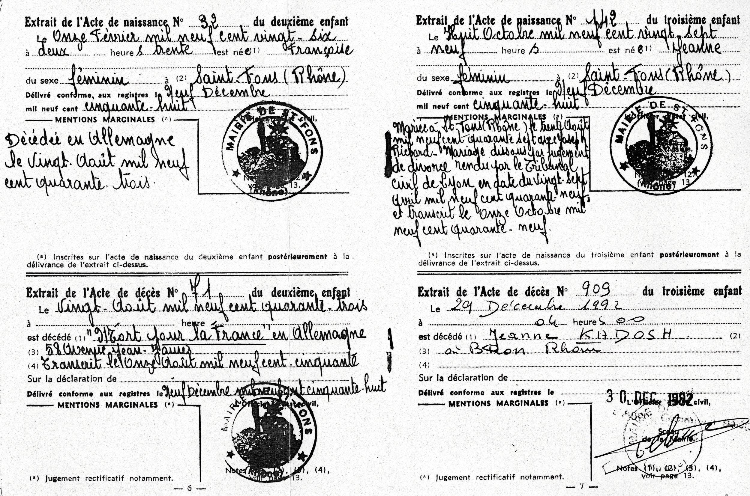 Acte de mariage / décès / naissance, page 3, Kadosch, Saint-Fons