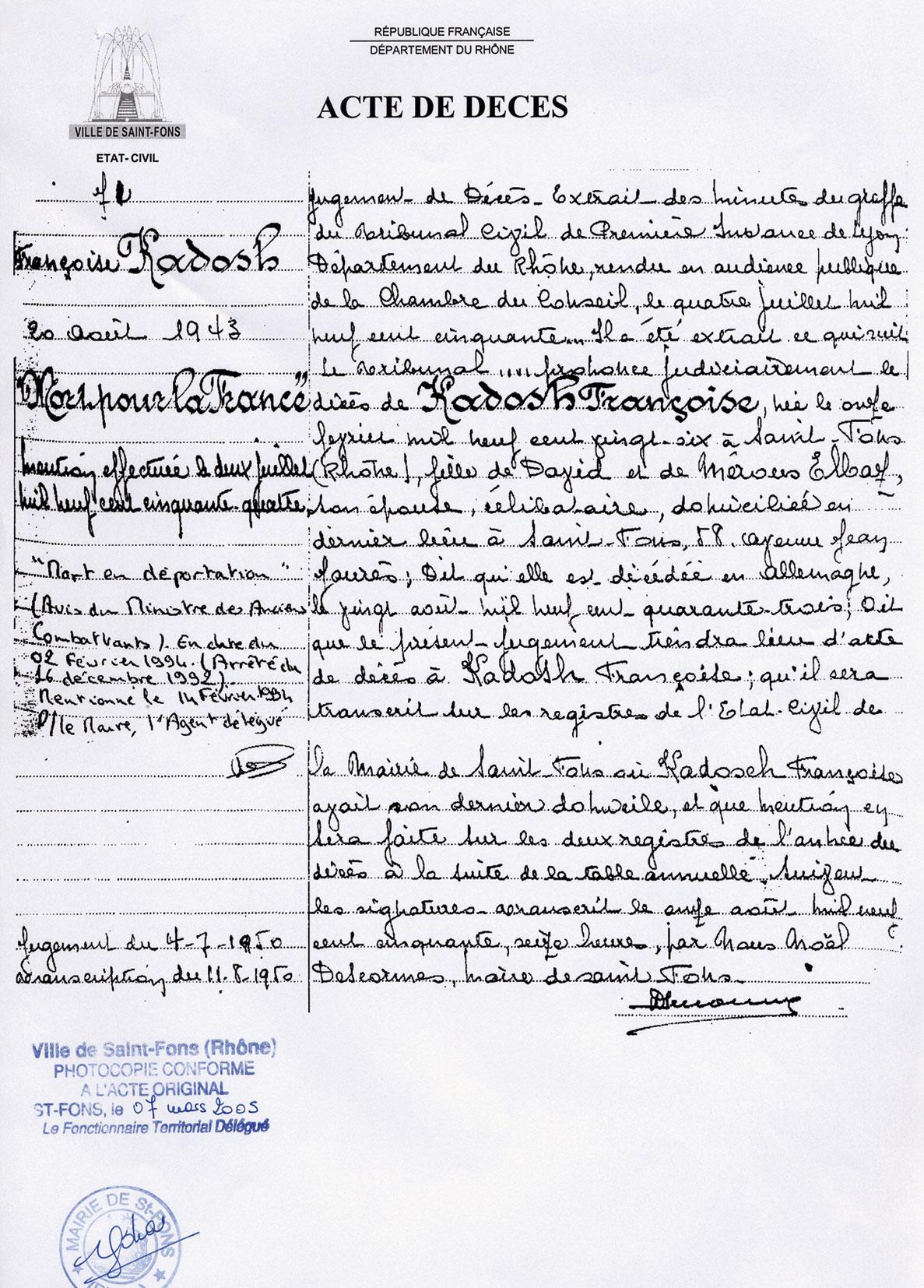 Acte de décès de Françoise, Kadosch, Saint-Fons