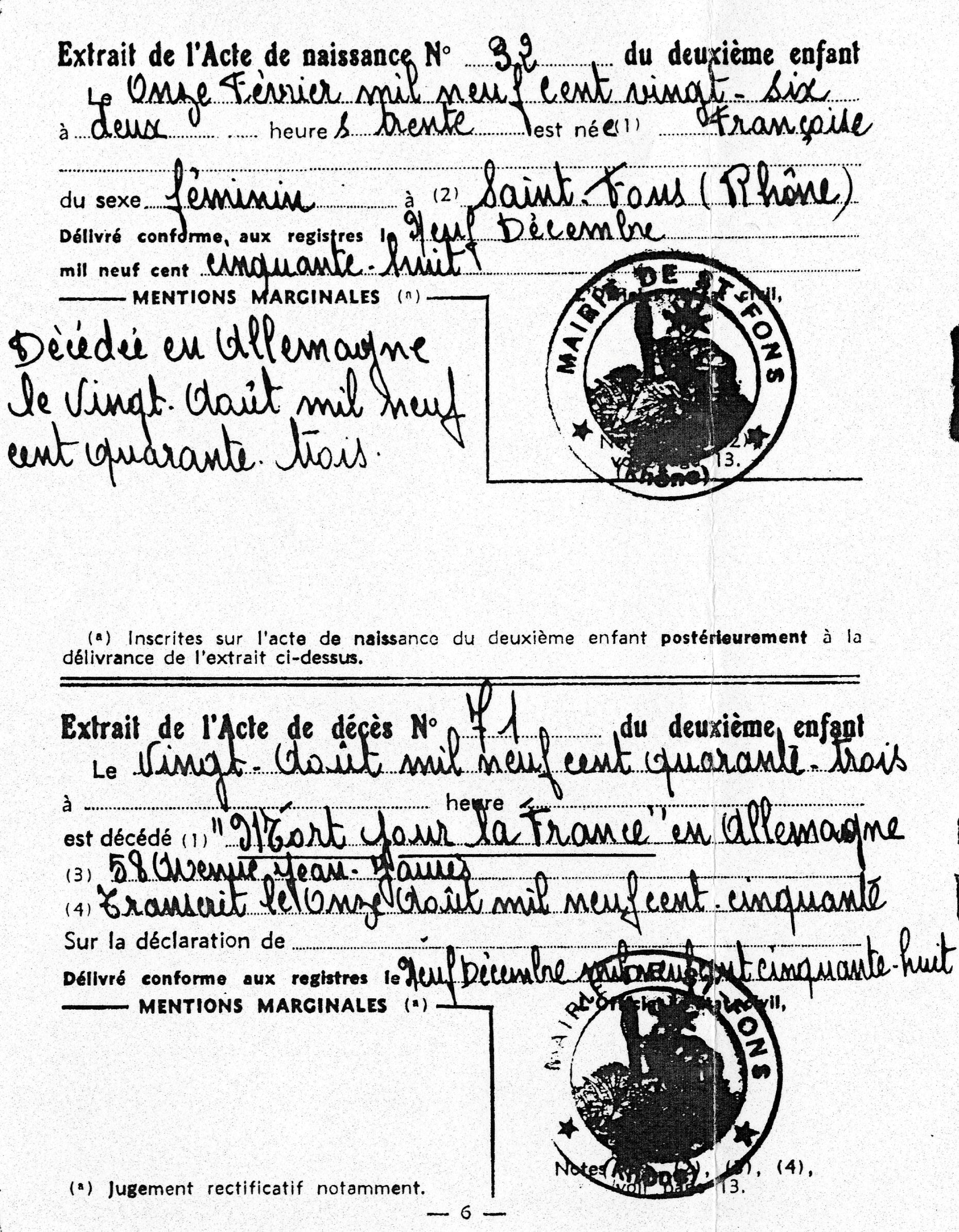 Acte de naissance et décès de Françoise, Kadosch, Saint-Fons