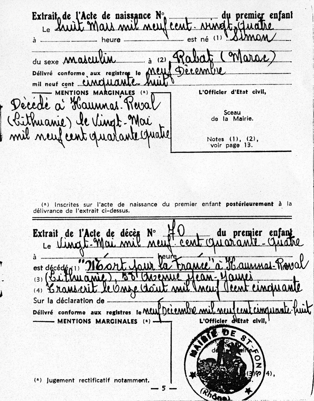 Acte de naissance et décès de Simon, Kadosch, Saint-Fons