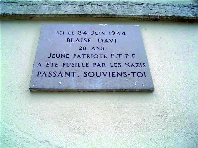 Blaise / plaque commémorative