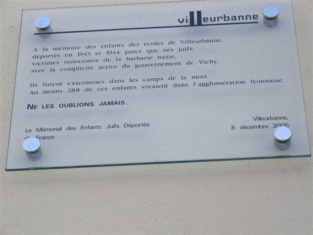 Plaque Anatole France Villeurbanne