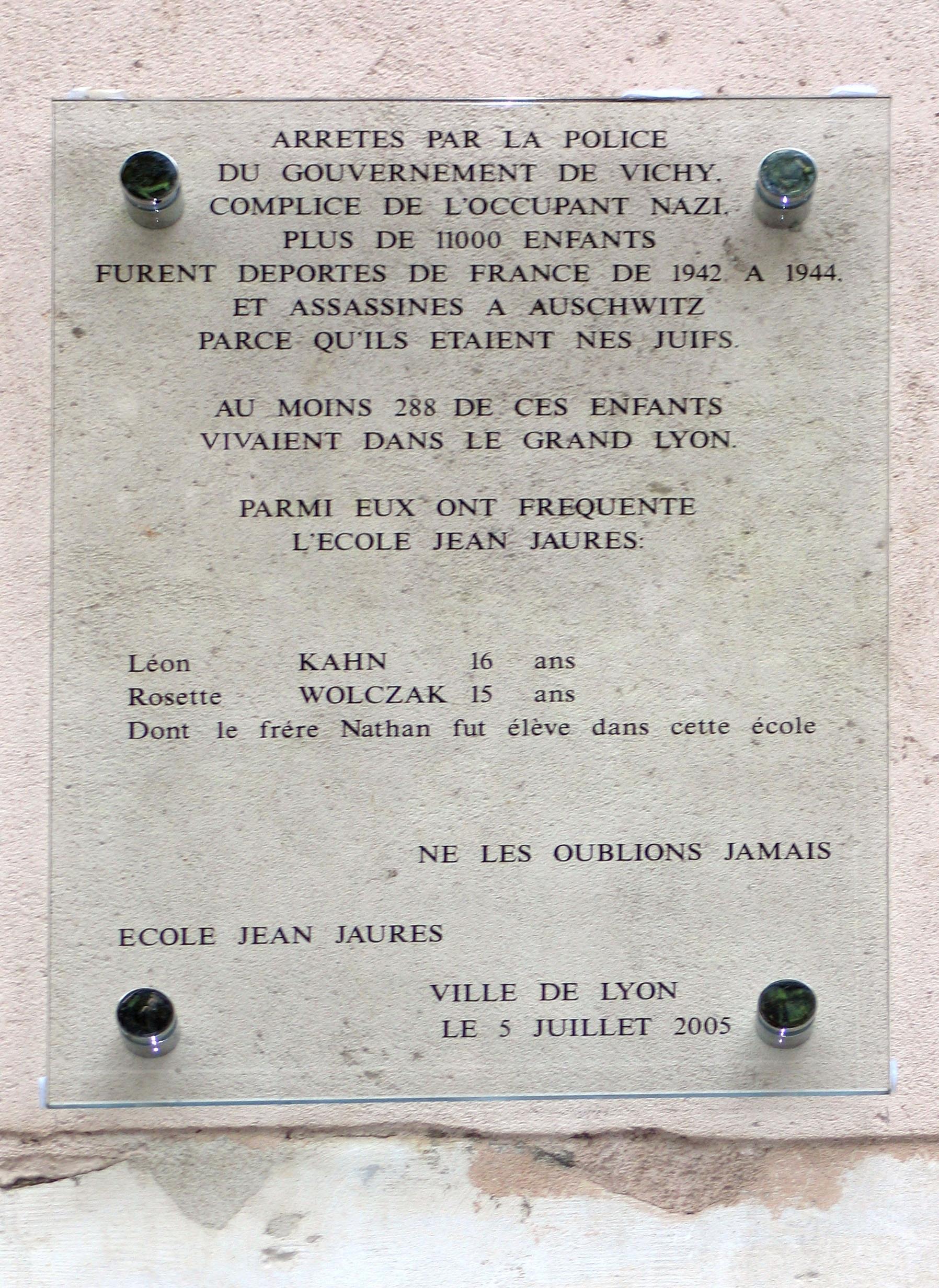 Plaque école Jean Jaures Lyon