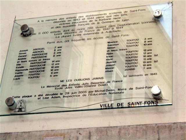 Plaque Jules Vales Saint-Fons