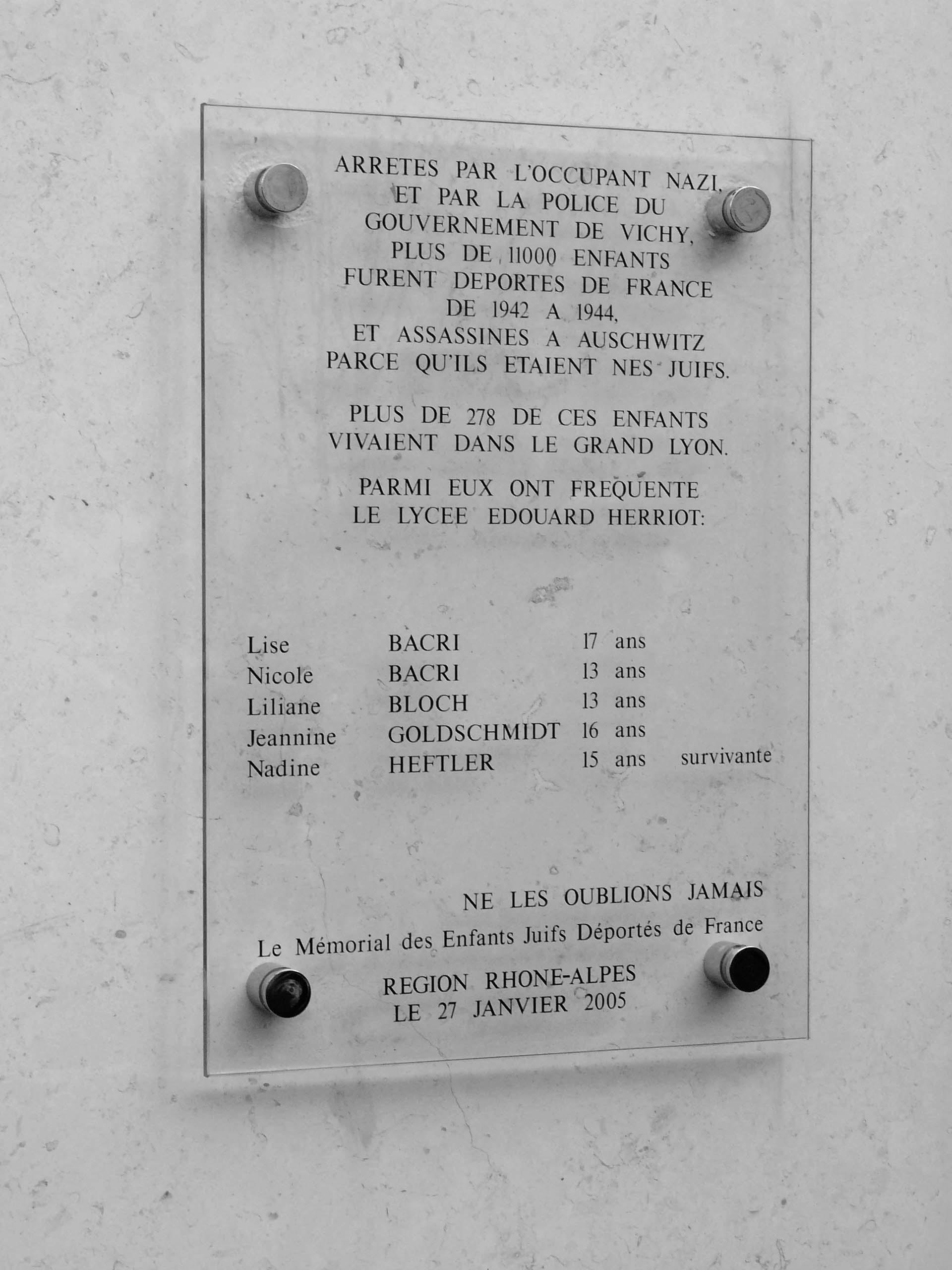 Plaque Lycée Herriot
