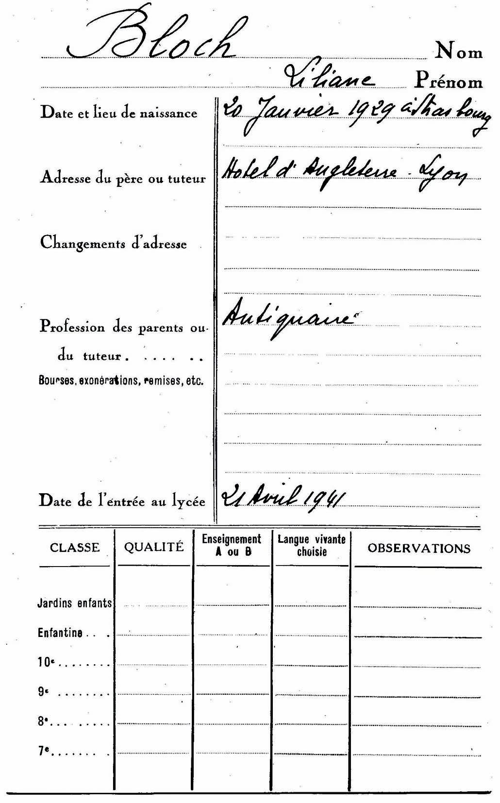 Bloch-Liliane (Fiche école)