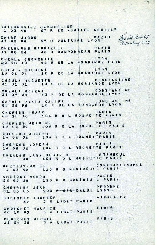 Chemla-convoi-77 (Liste convoi de déportation)