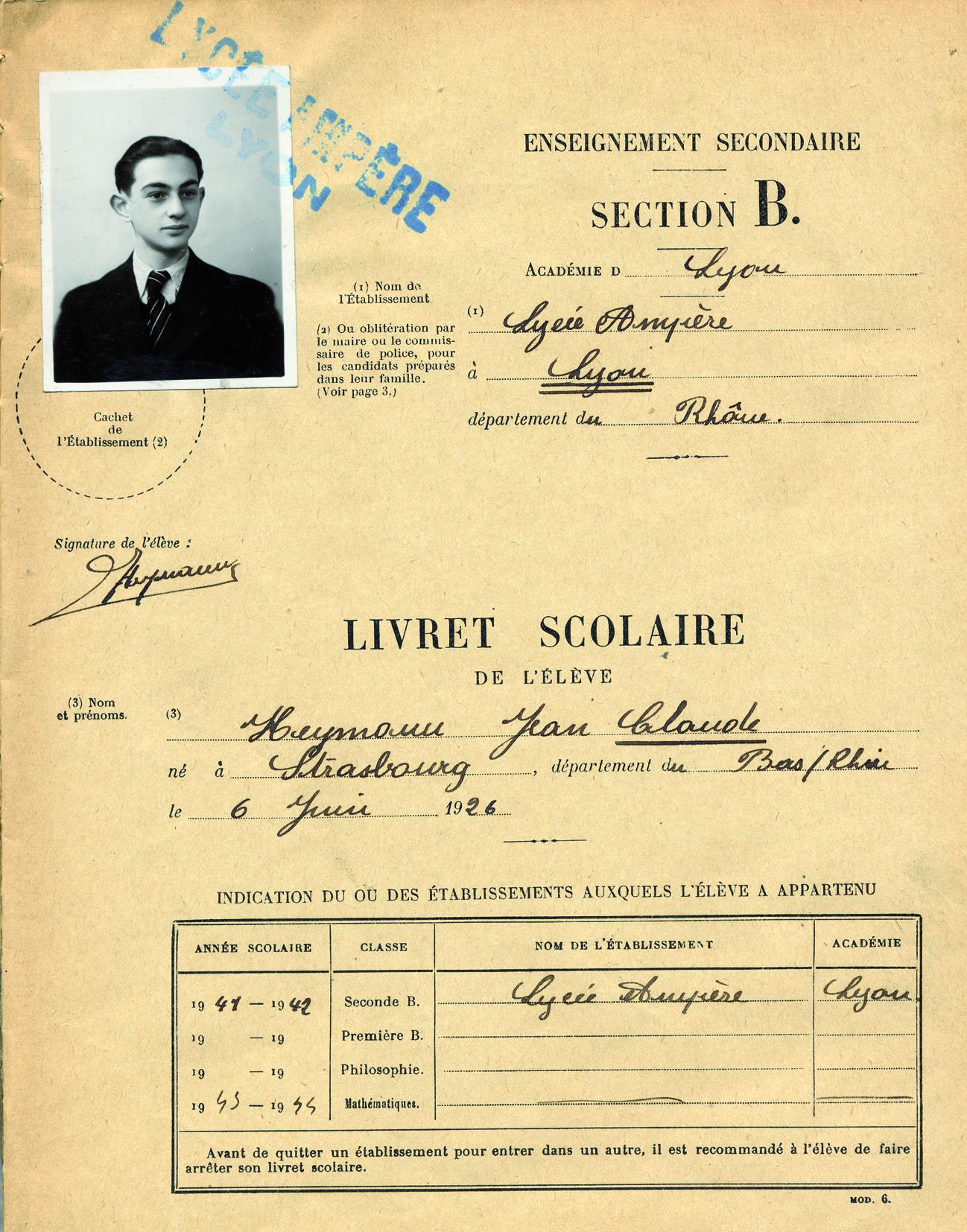 Heymann-Claude4 (Livret scolaire)