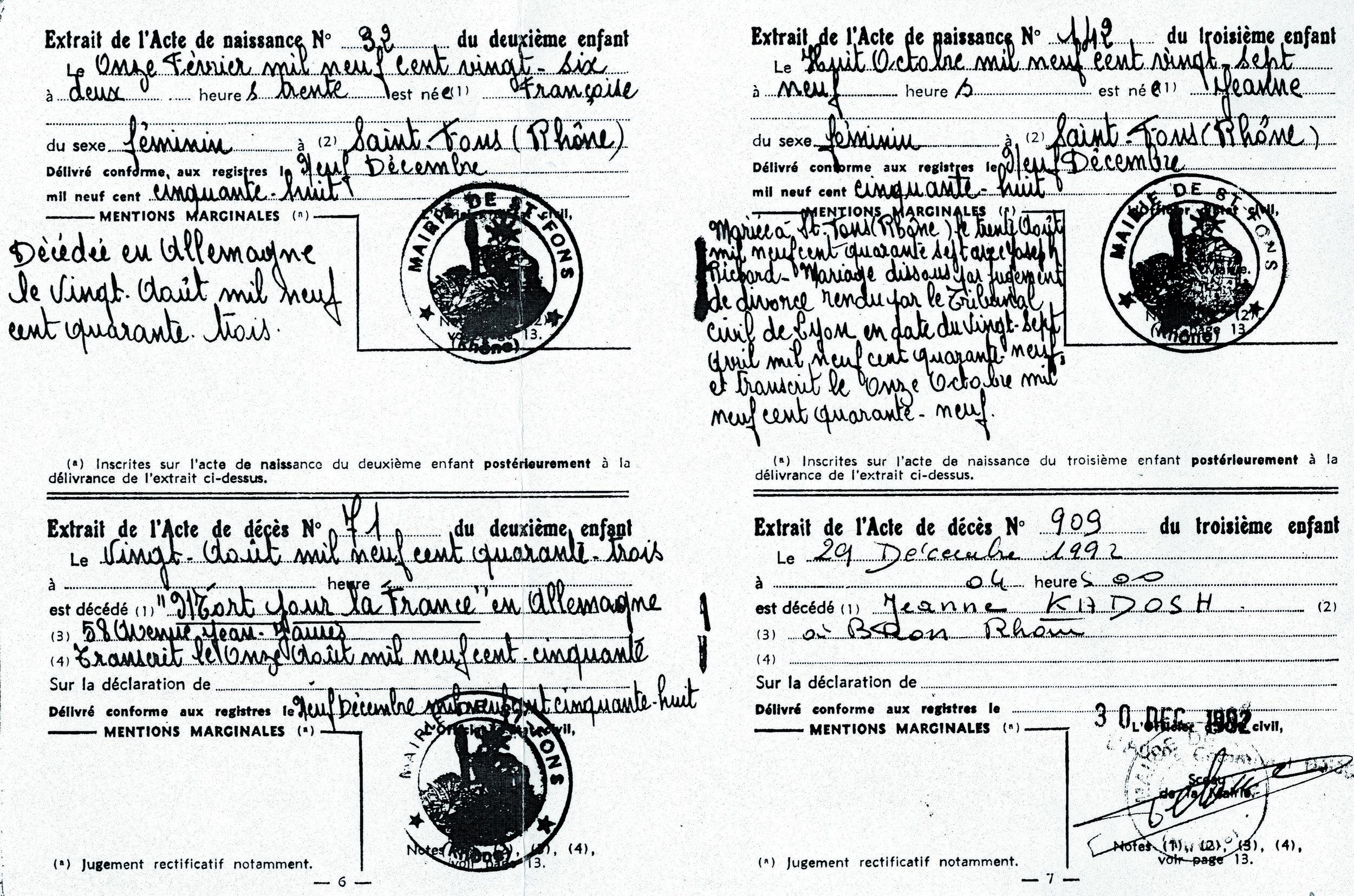 Kadosh-Francoise (Document officiel)