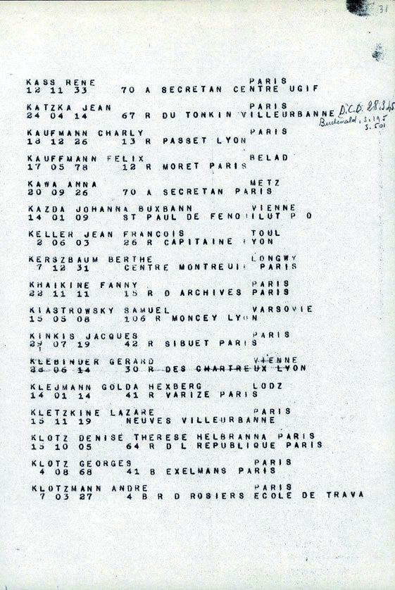 Kaufmann-Charly-convoi-77 (Liste convoi de déportation)