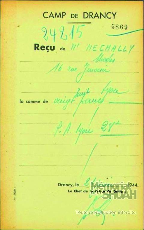Mechally-Charles-2 (Fiche de reçu de Drancy)
