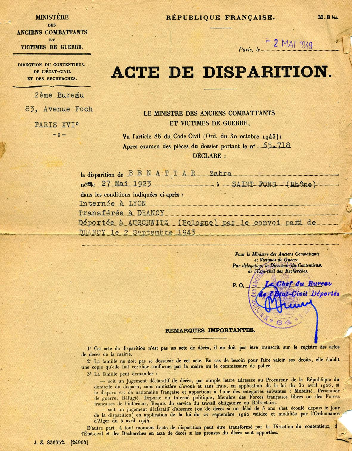 Zahra Benatar Acte de disarition (Document officiel)