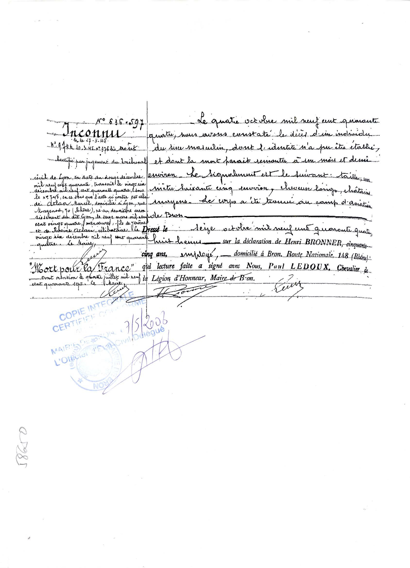 Déclaration du maire de Bron corps de Marcel Atlan fusillé à Bron