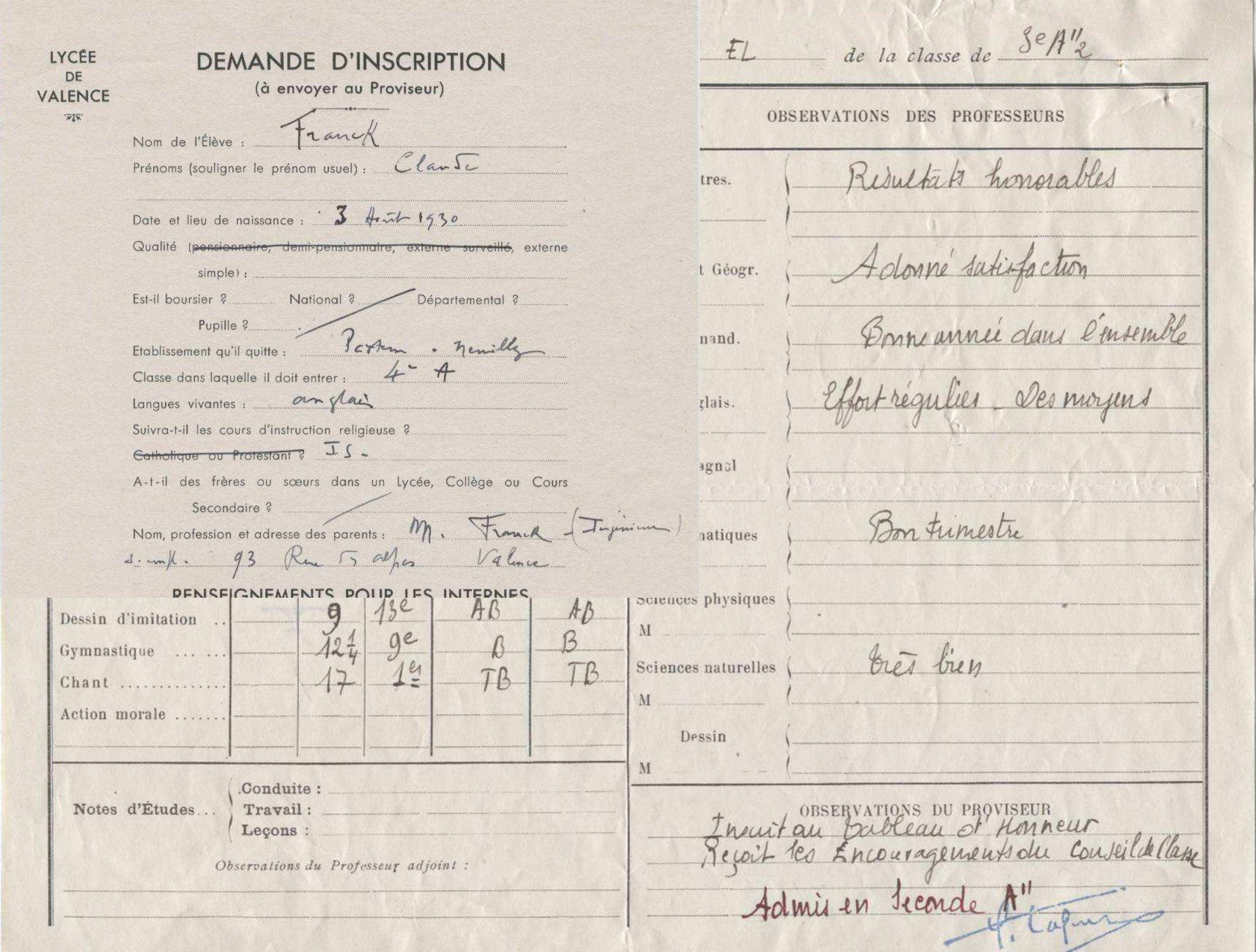 Franck Claude Lycée Valence 1942