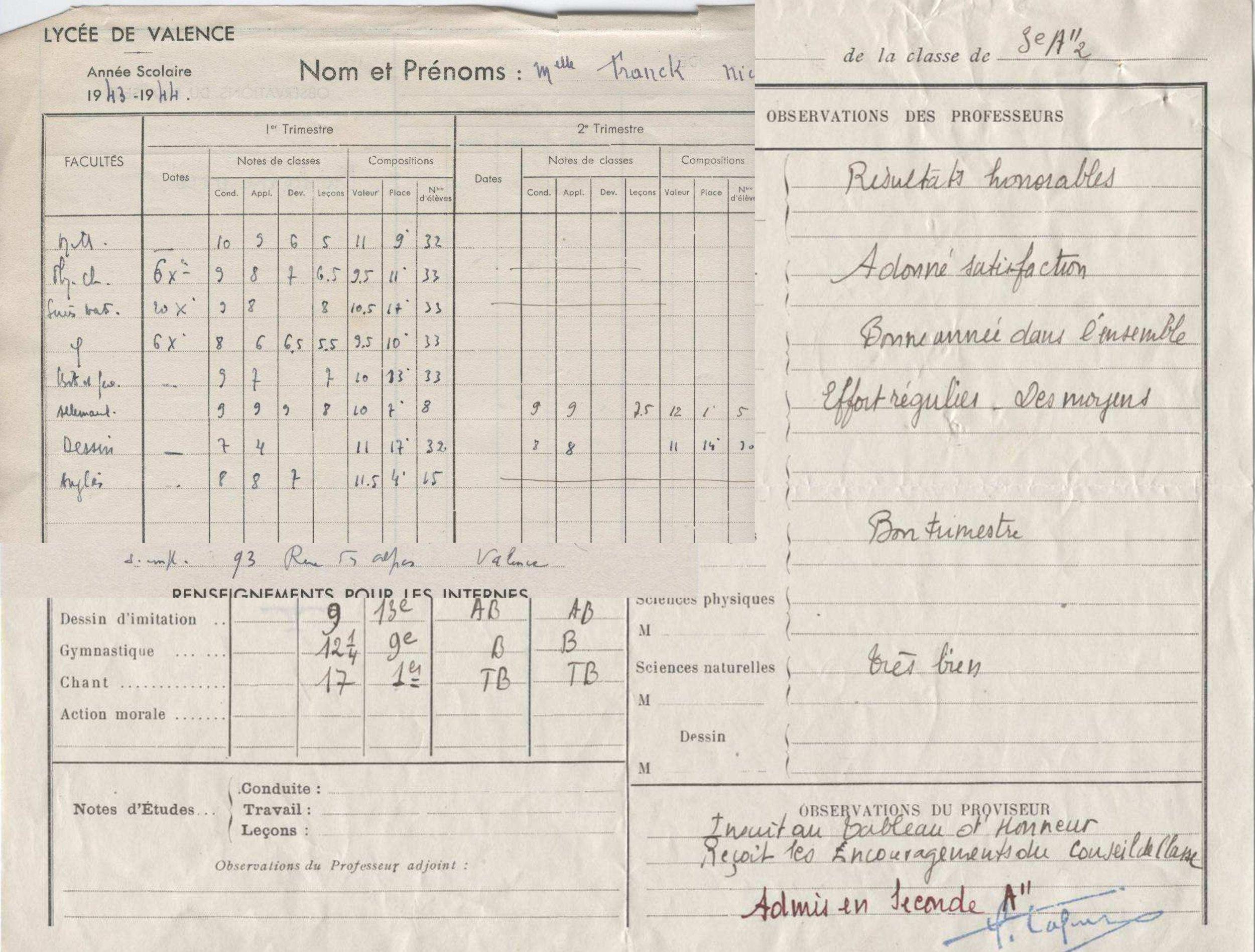 Franck Nicole Lycée Valence 1943_44