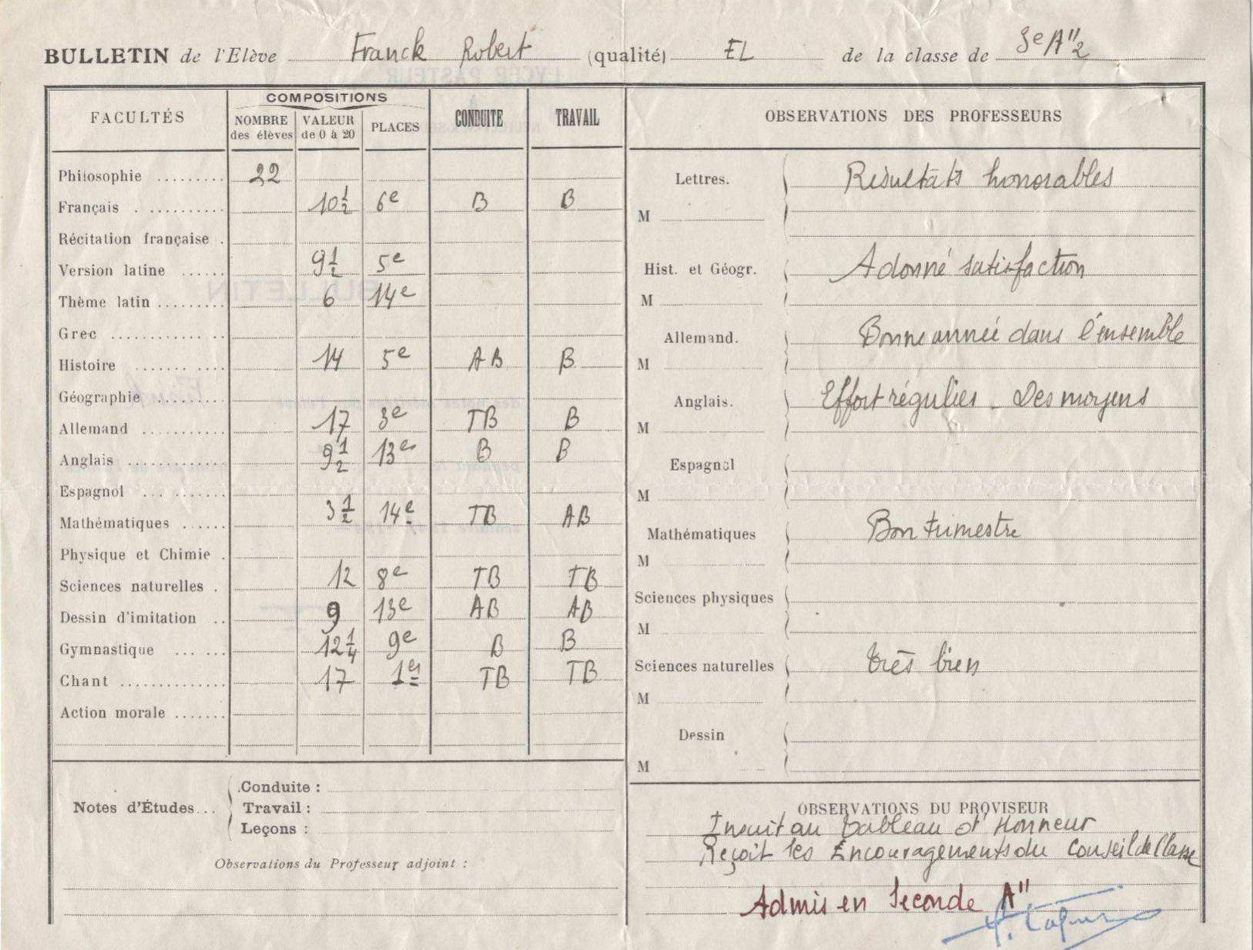 Bulletin de Robert Franck 1941_42 Neuilly