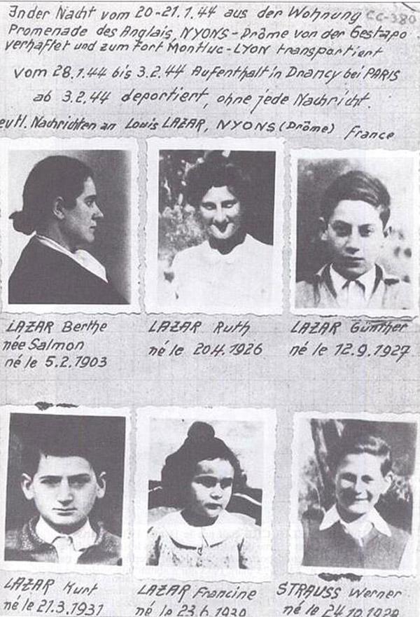 avis de recherche de la famille Lazar à Nyons en janvier 44