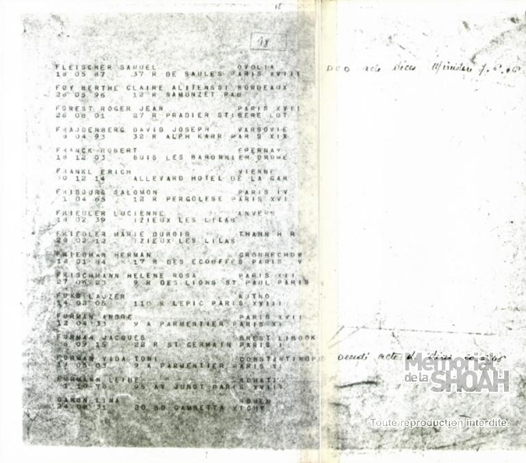 Lucienne Friedler - Liste du convoi de déportation n°76