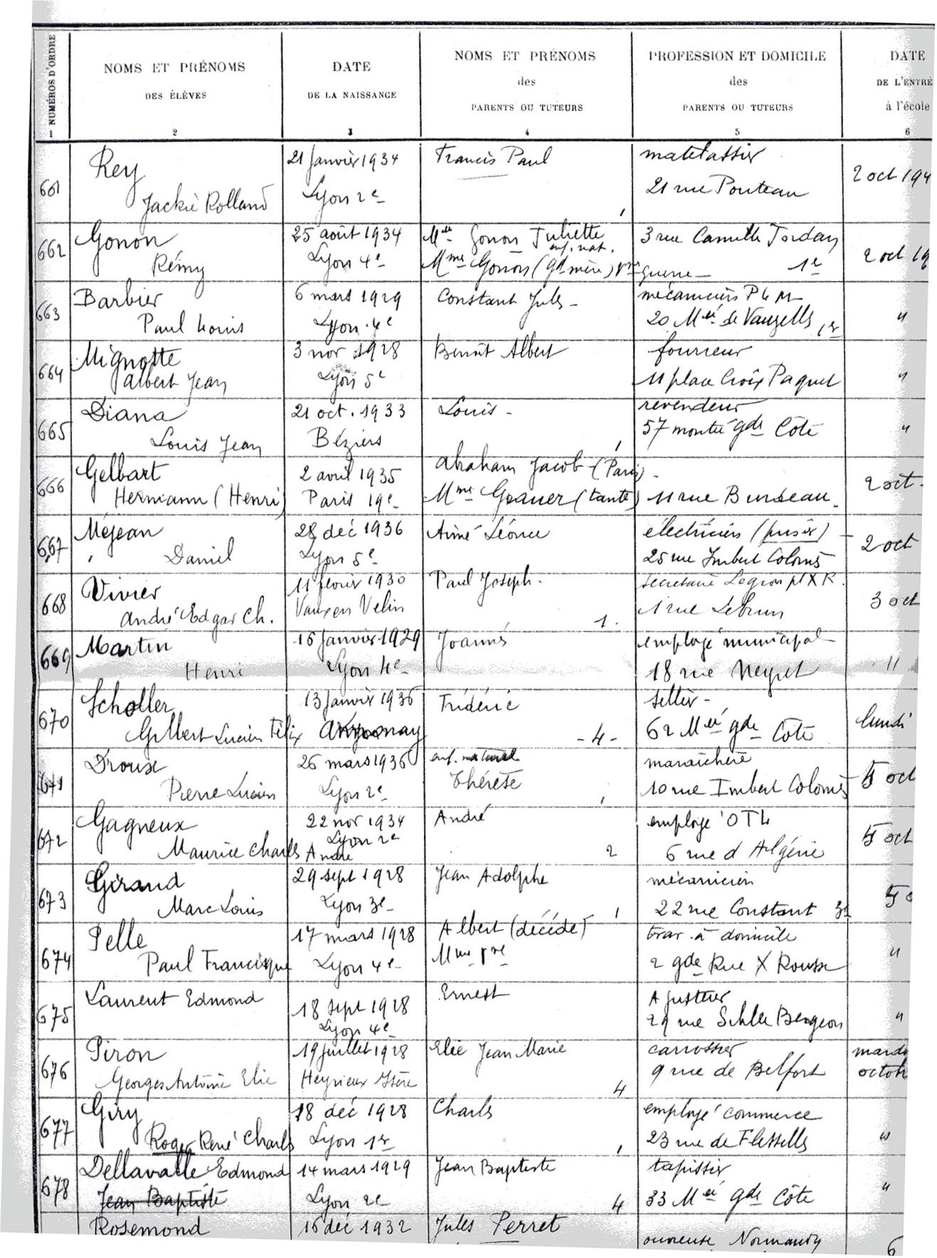 Hermann Henry Gelbart - registre matricule de l'école des Tables Claudiennes, Lyon