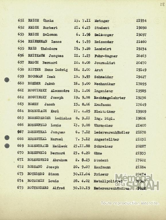 Théodore Reis Liste du convoi 73