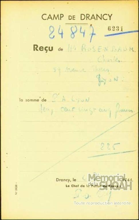 Charles Rosenbaum Fiche de dépôt Drancy