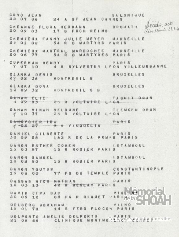 Minah Dahan Liste convoi 77
