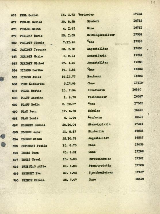 Perloff Liste du convoi 70