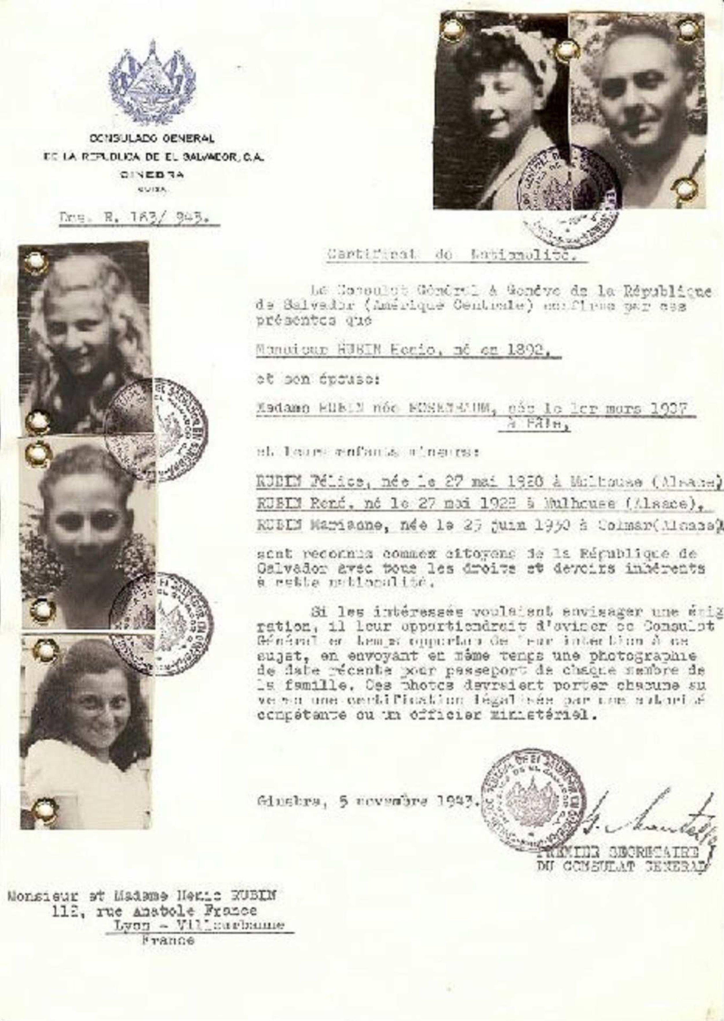 Famille Rubin Certificat de de nationalité du consul général de la République du Salvador, parvenu à leur domicile, pendant leur déportation